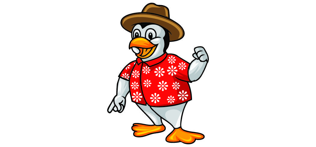 A penguin in a Hawaiian shirt with a raised fist.