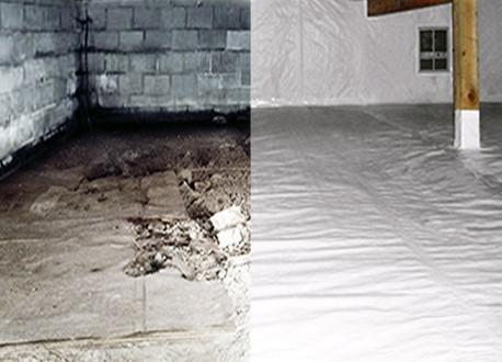 An image that contrasts a crawl space with vapor barriers and without.