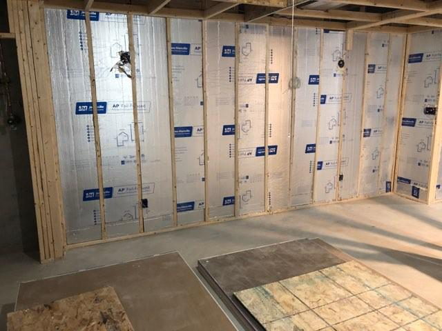 A photo of insulation in walls.