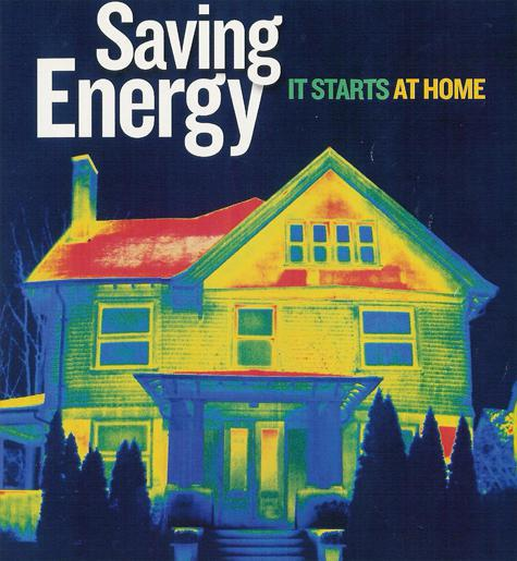 An infrared image that serves as a reminder that energy saving efforts start at home!