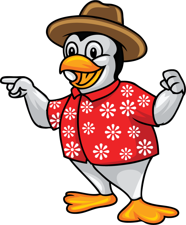A photo of a penguin in a Hawaiian shirt and hat pointing to their left.