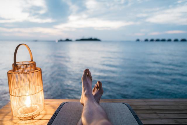 relaxing feet on beach