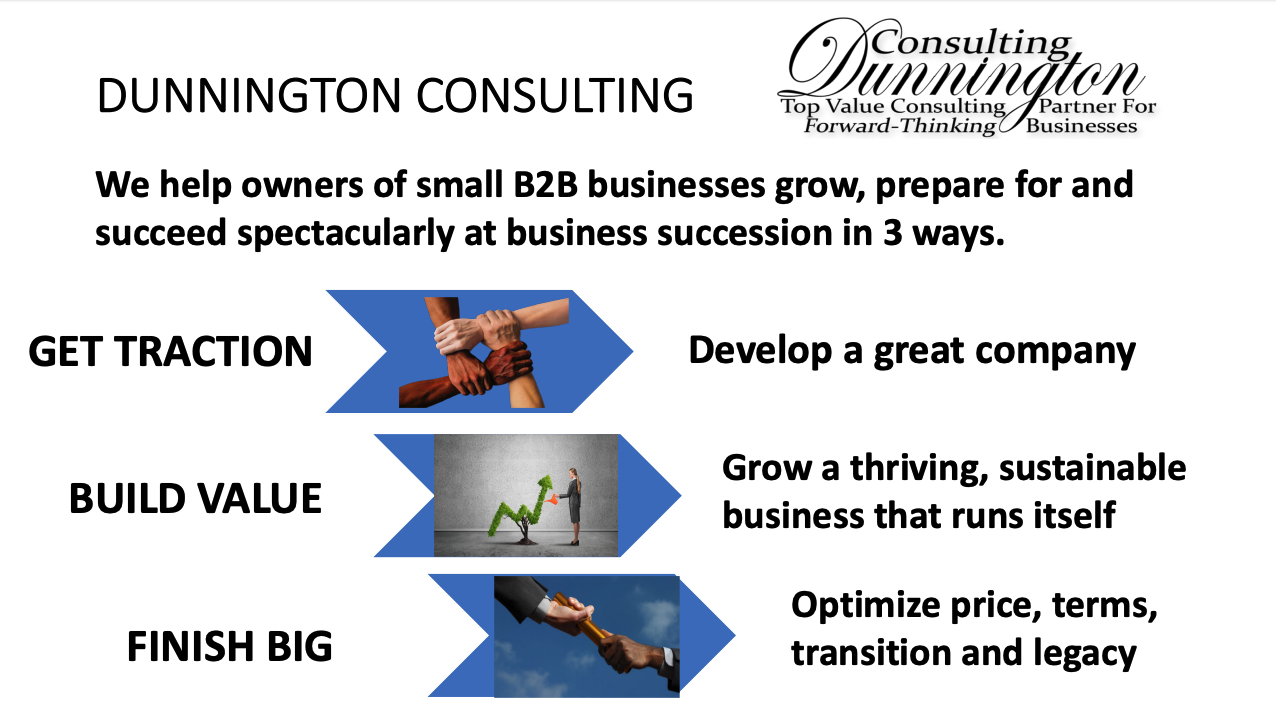 We help owners of small B2B businesses grow, prepare for, and succeed spectacularly at business succession