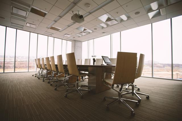 view of a modern meeting room with a wide angle lens