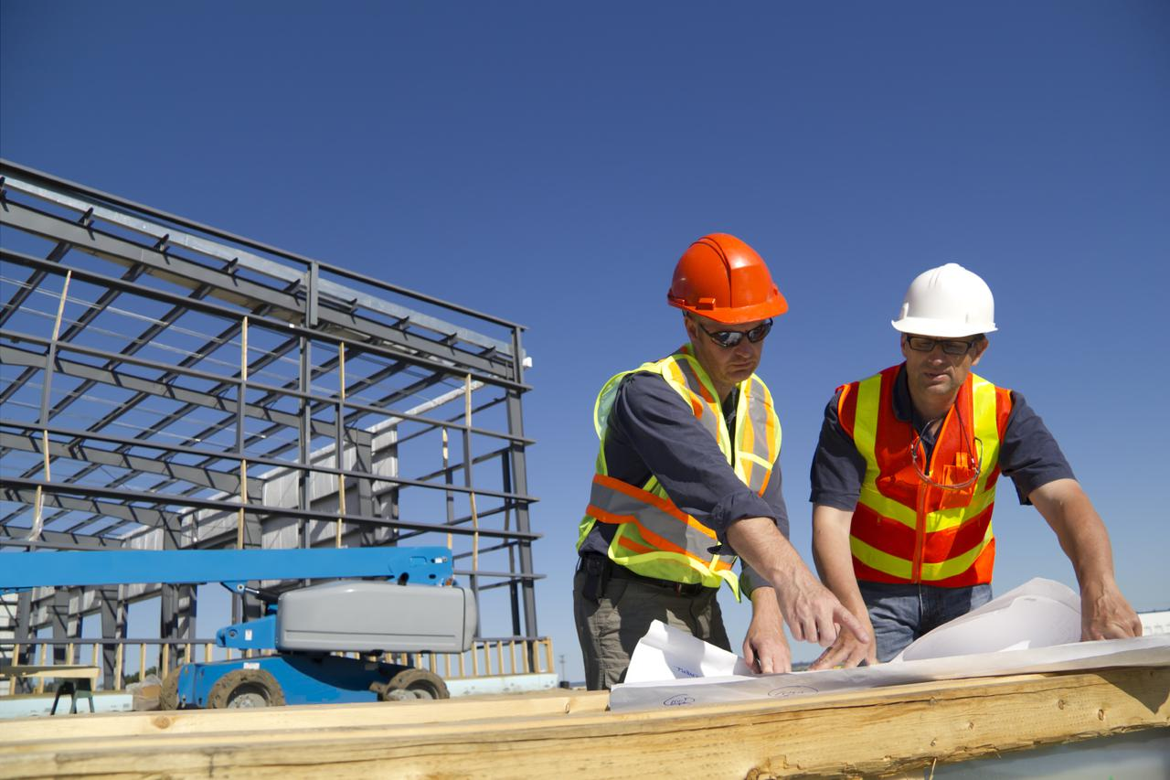 construction management team on a job site