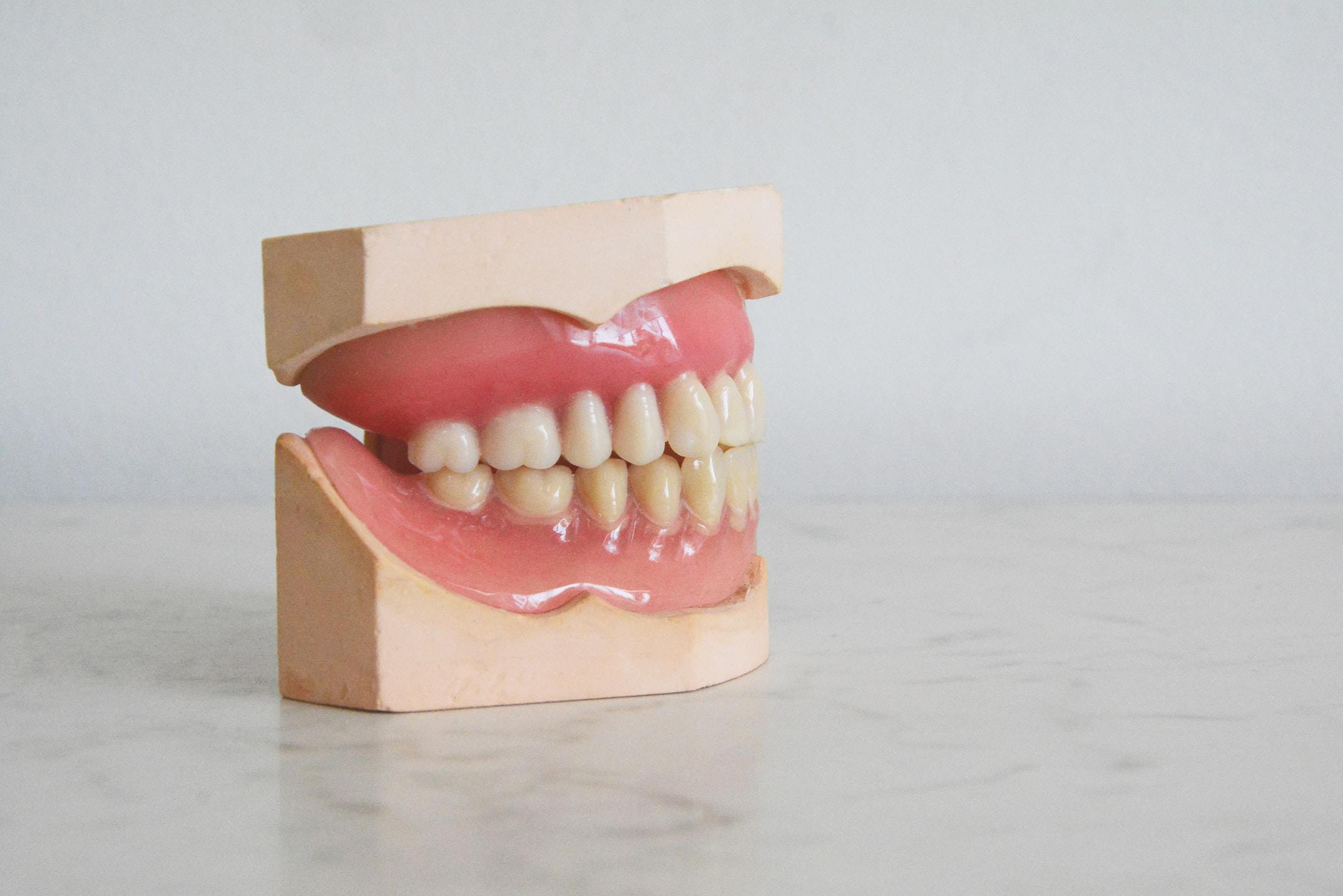 Dental prosthesis on a table, teeths are shown. Dental technicians use it.