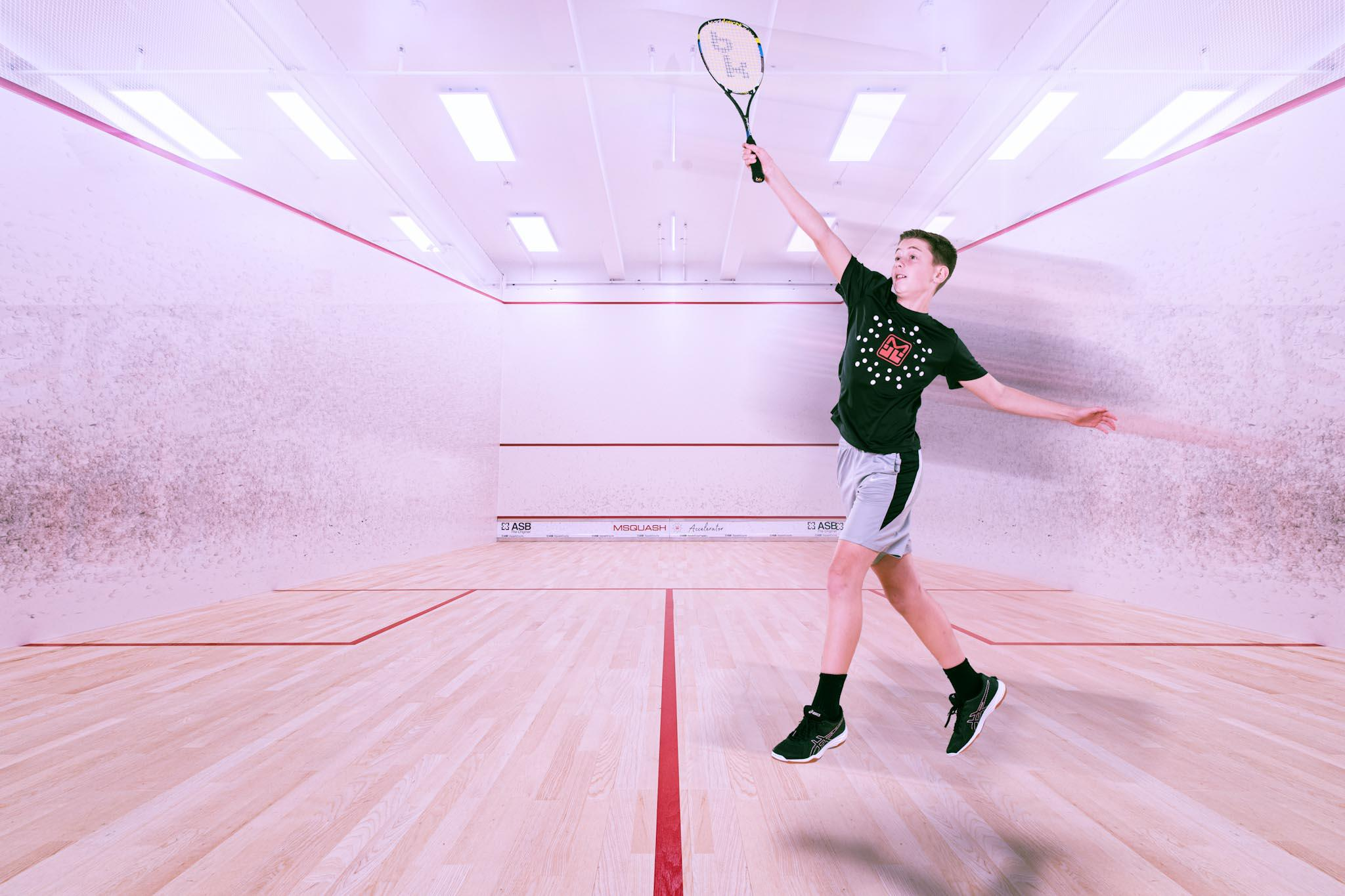 This is an image of a student at a squash academy in Westchester, NY.