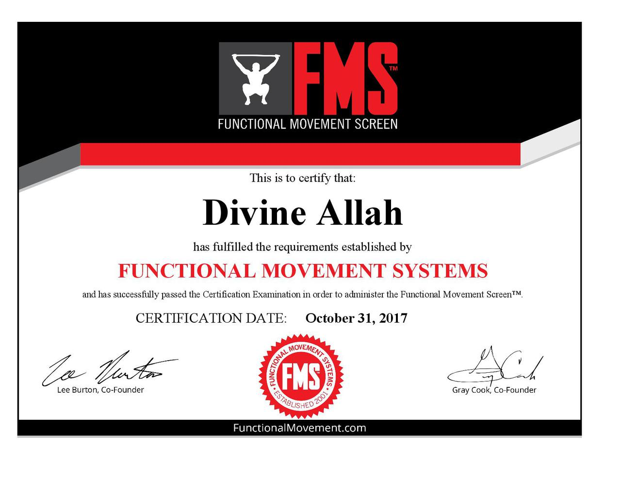 Functional movement systems certification