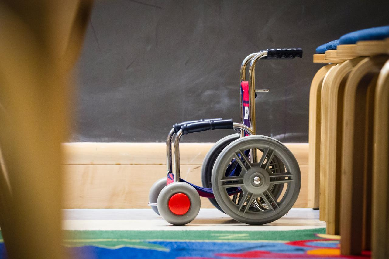 Toy Wheelchair. Toys as well as art and craft materials are available to help pediatric cancer patients cope with their treatment at the NIH Clinical Center. Photographer Daniel Sone