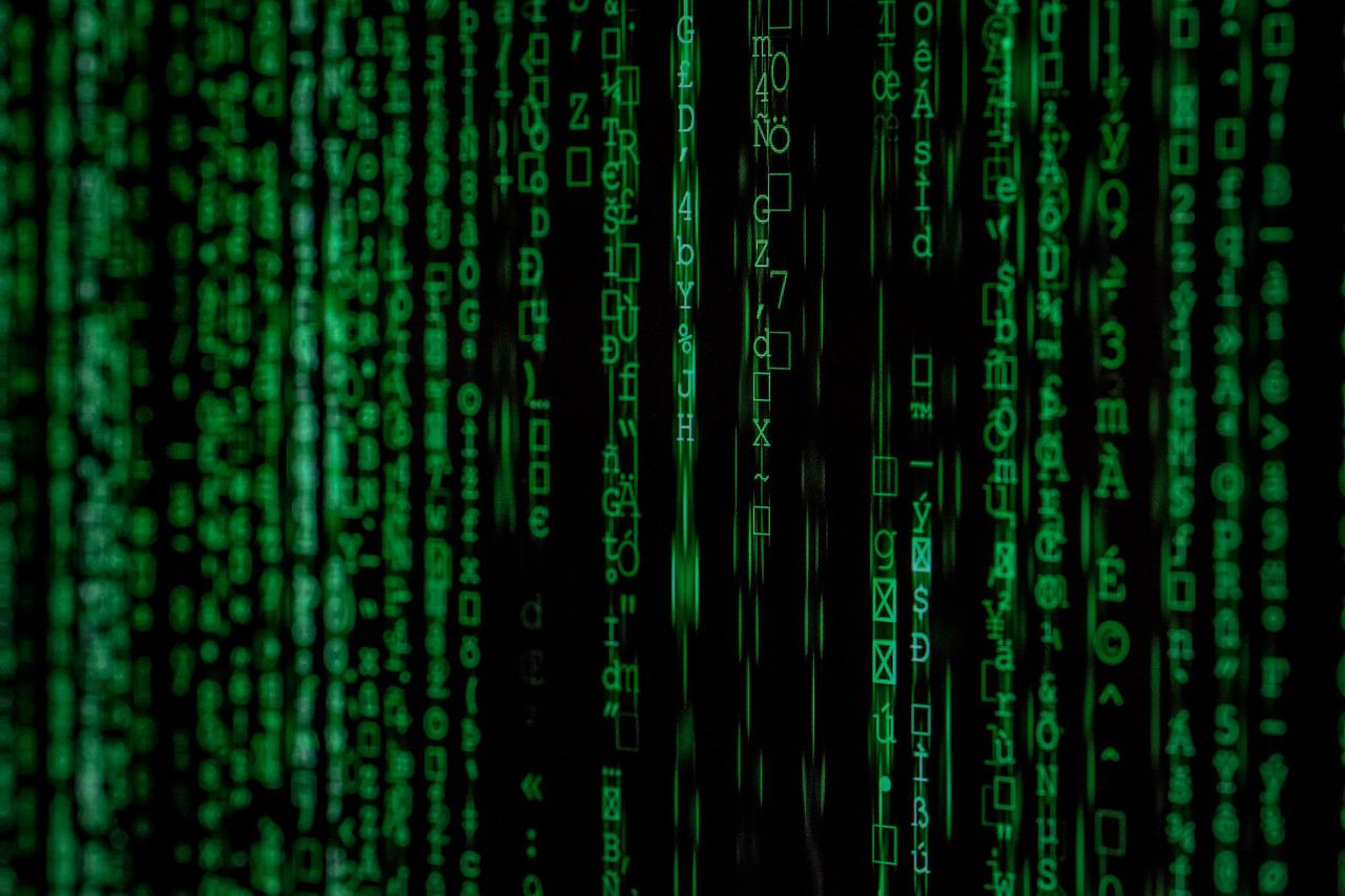 Hacker binary attack code. Made with Canon 5d Mark III and analog vintage lens, Leica APO Macro Elmarit-R 2.8 100mm (Year: 1993)