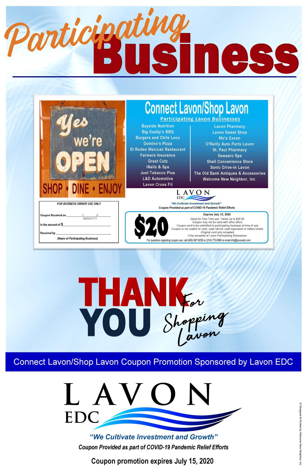 City of Lavon residents Look for your card in the