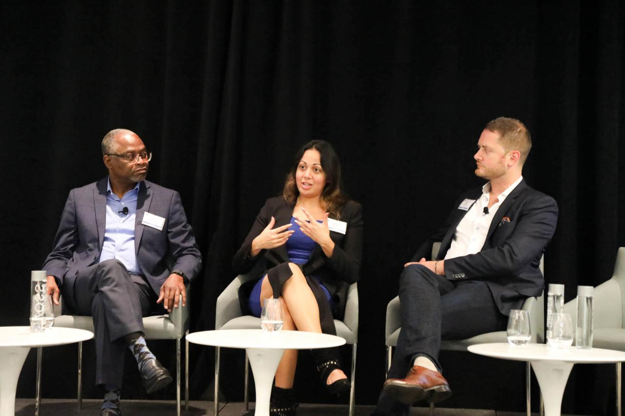 On stage, an expert on a panel answering audience members' questions while the rest of the panel listens.