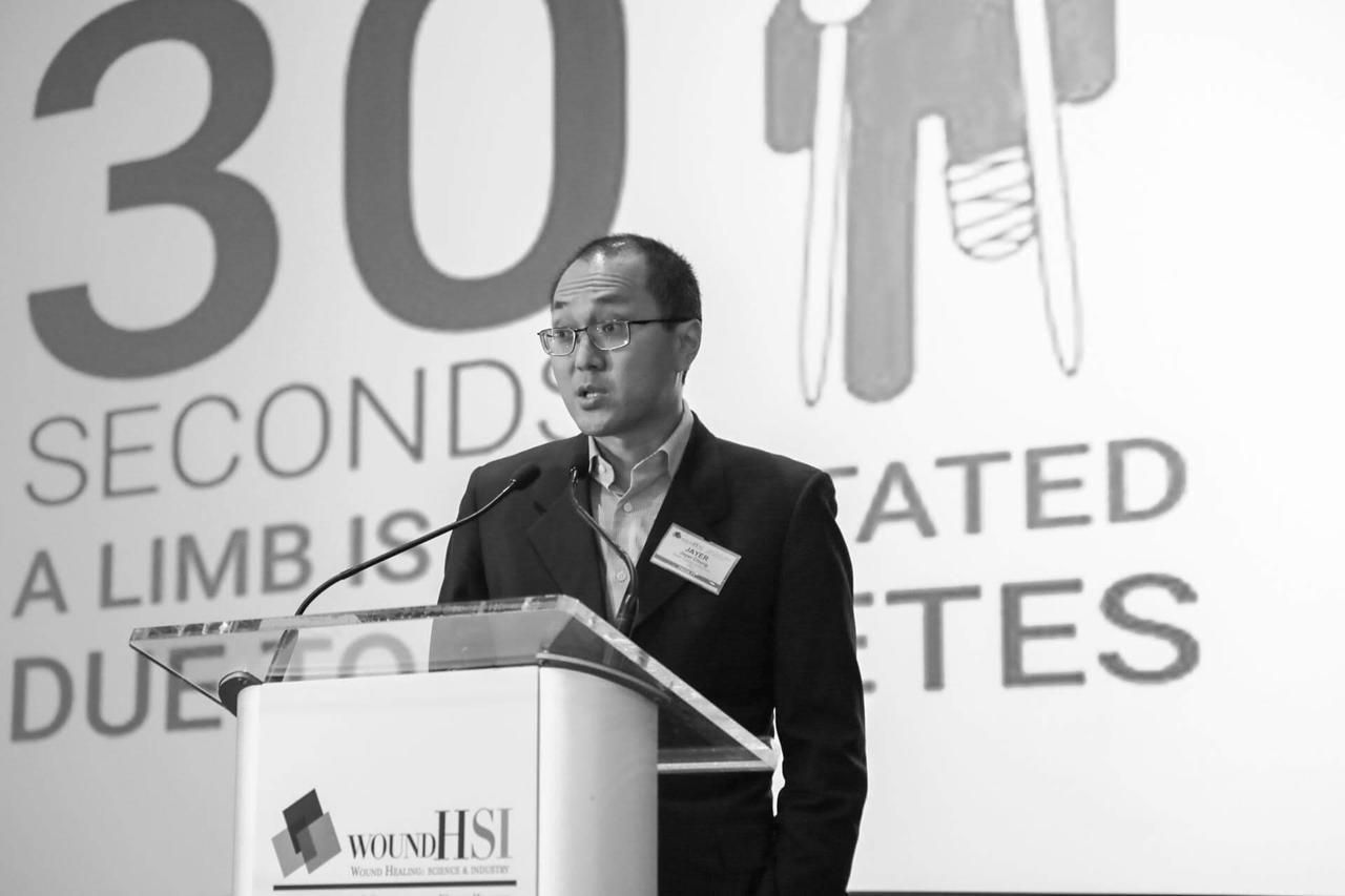 A speaker giving a severe presentation.