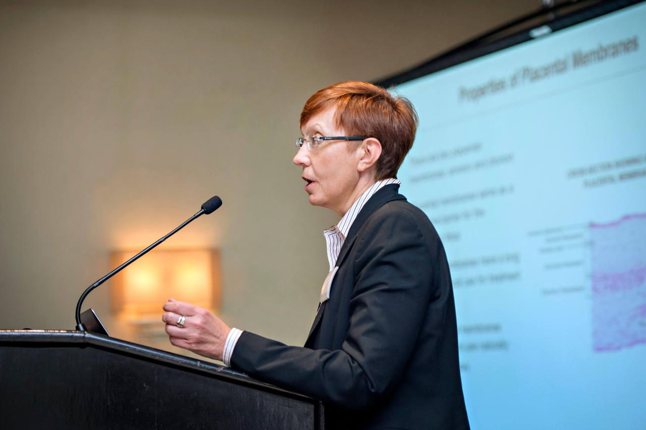 A woman at a podium, commanding attention.