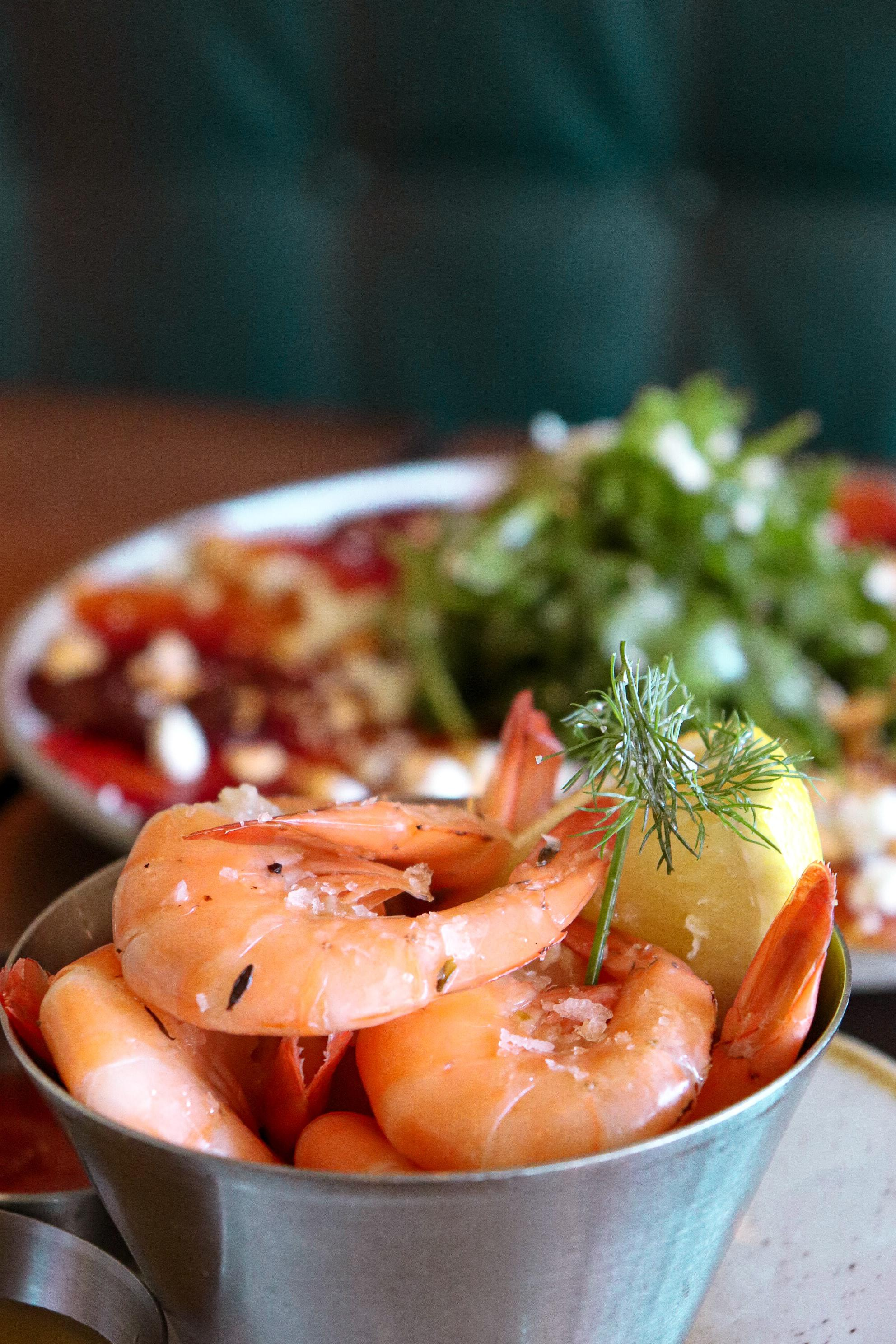 Raw shrimp in a bowl.