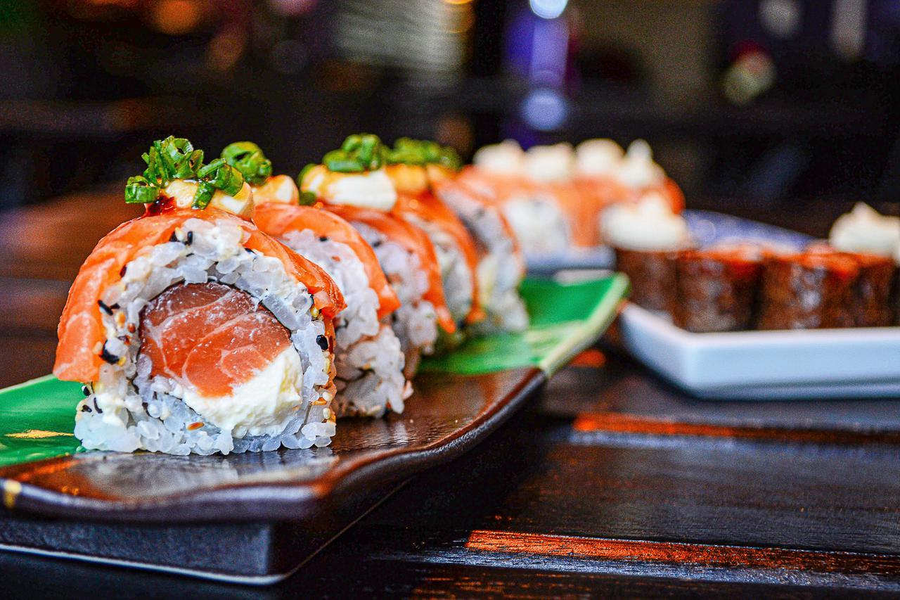 An arrangement of sushi.