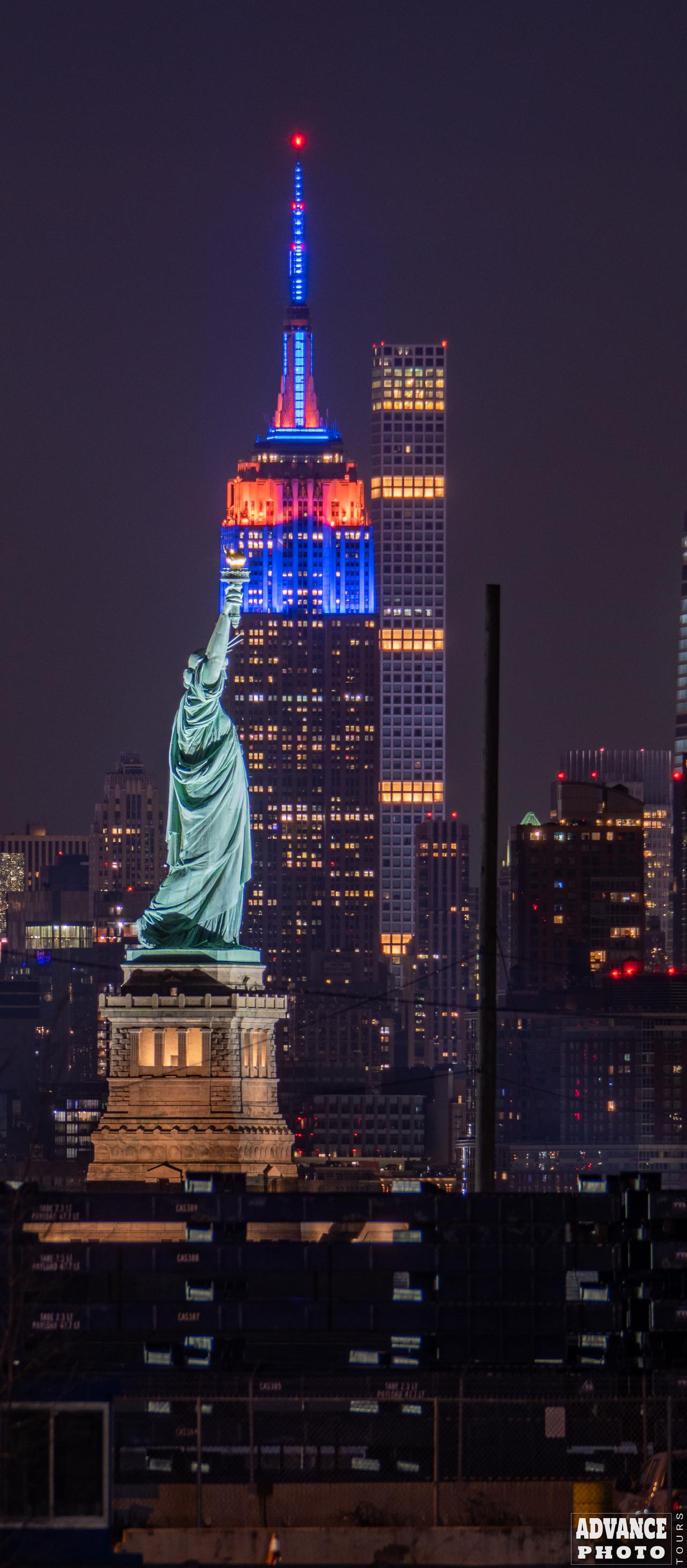 Statue of Liberty and The Empire State Building