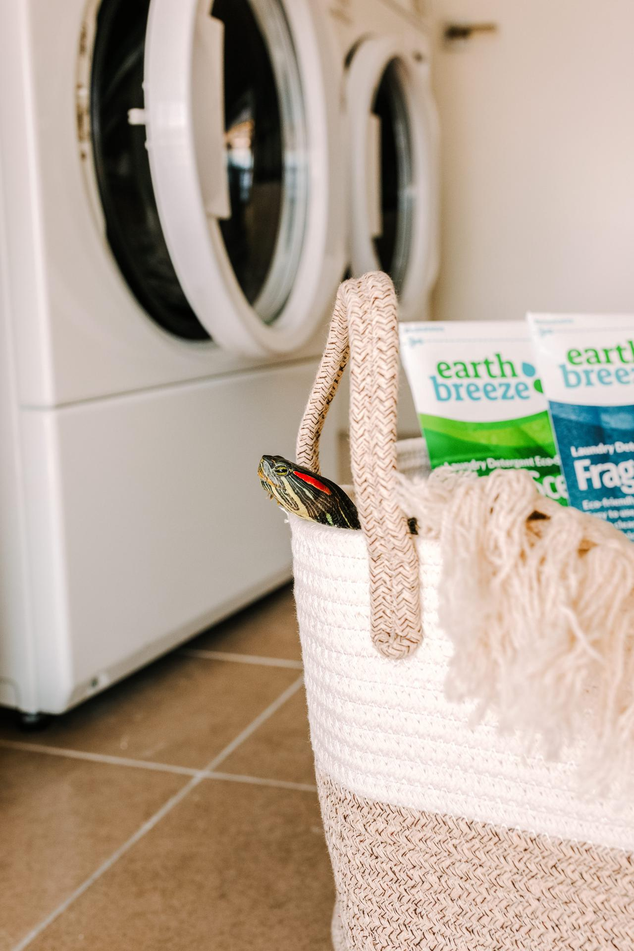 eco-friendly laundry detergent in a basket in front of a washer and dryer
