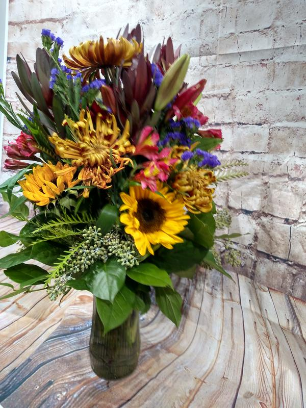 large bouquet in a vase