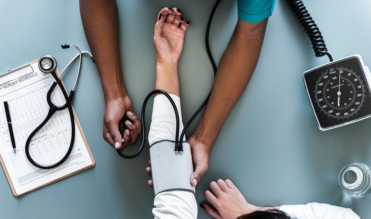 top down view of blood pressure check up