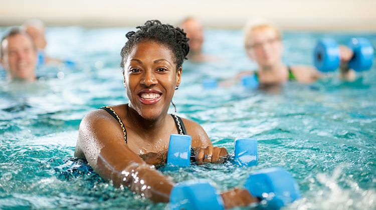 aquatherapy patient in a pool