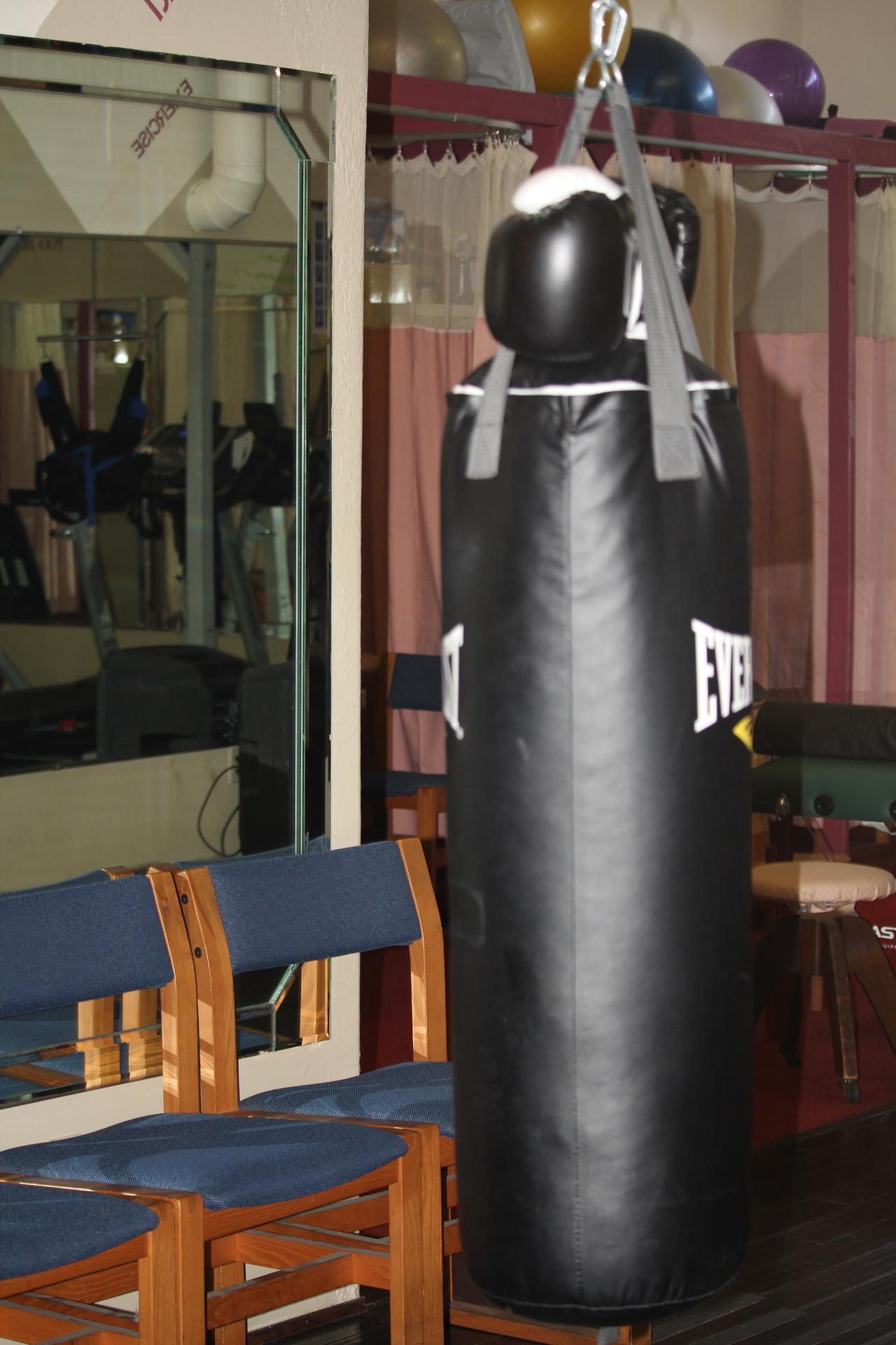 heavy punching bag at healthcare solutions chiropractic care center in houston tx
