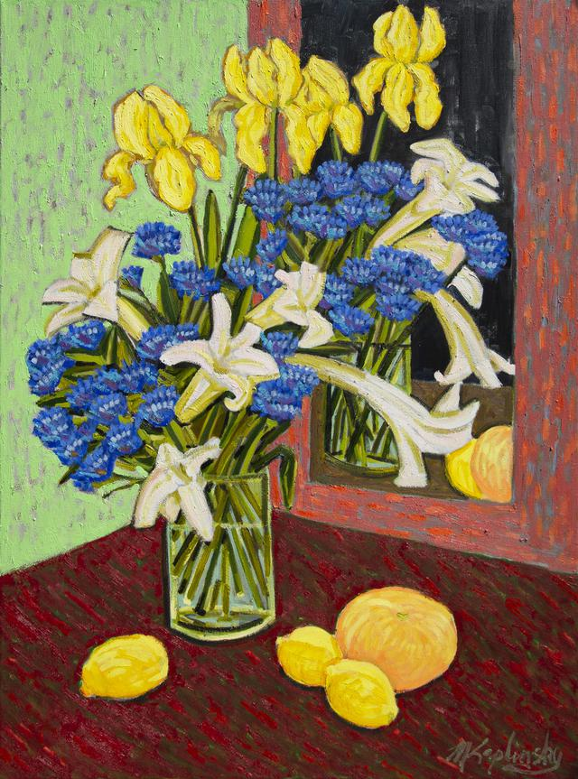 Cornflowers with Lilies and Iris oil on canvas still life by Matt Kaplinsky 40x30