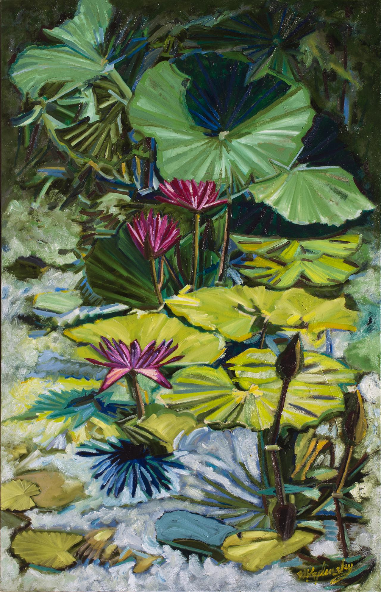 Lotus and Lilies_ oil on canvas_ 30x48 inches artwork by Matt Kaplinsky