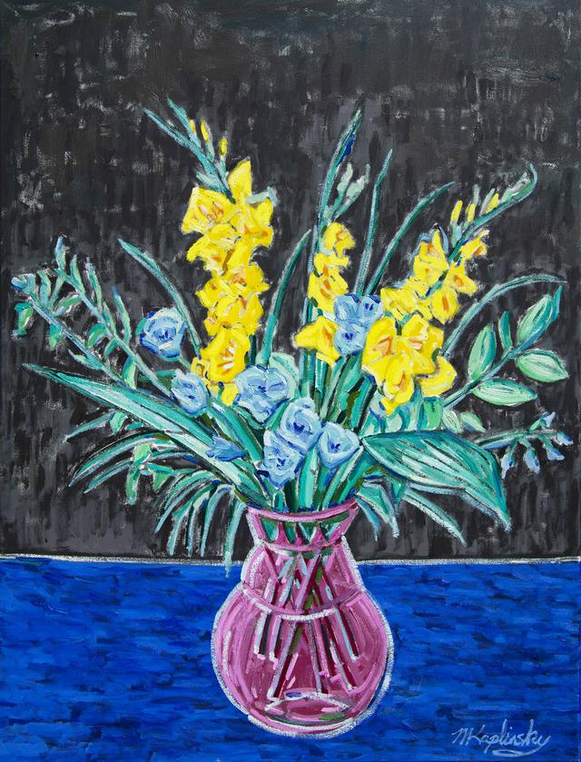 Large Sketch with Yellow Gladiolas oil on canvas still life art piece by Matt Kaplinsky 40x30
