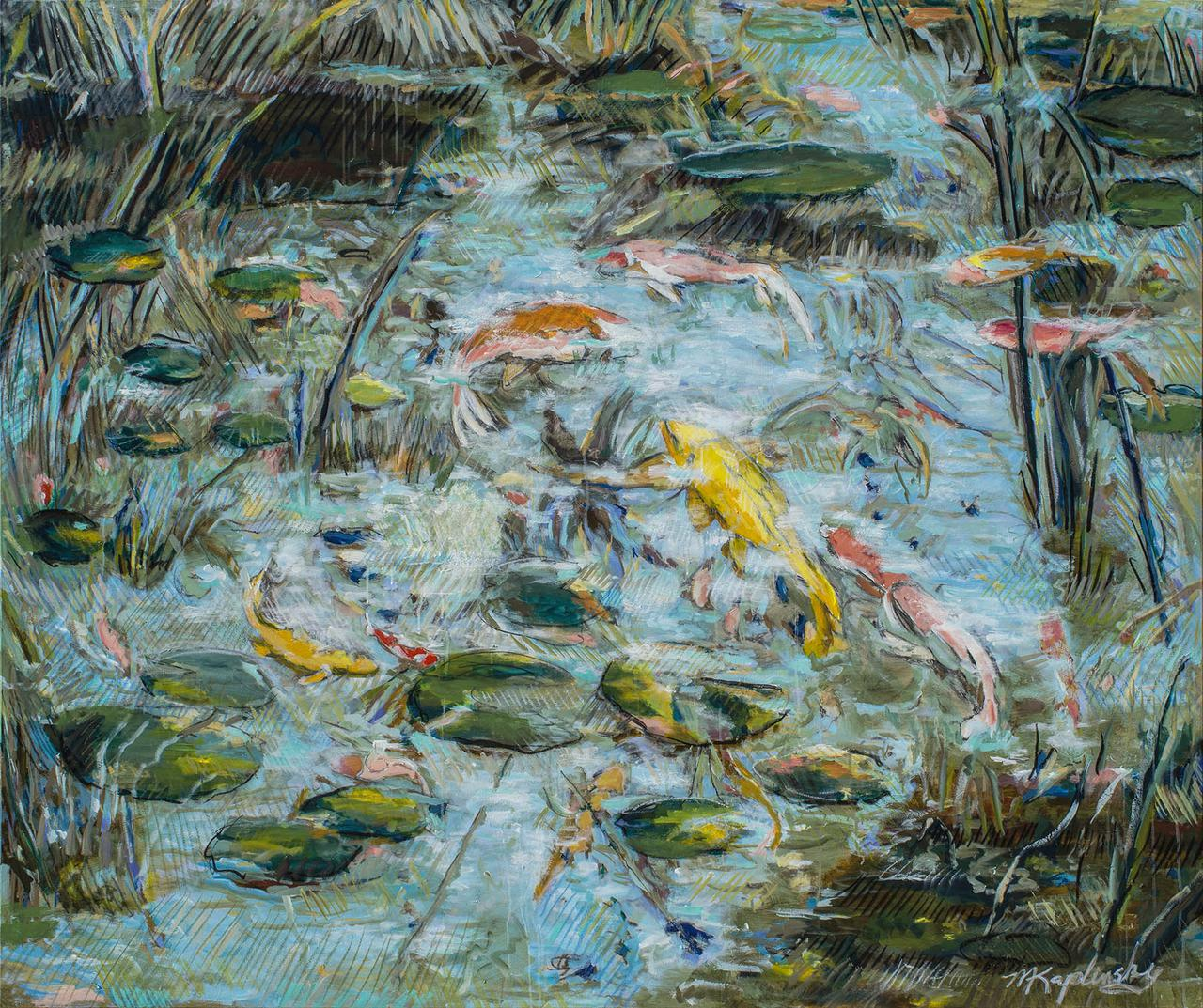 Arboretum Koi Pond acrylic on canvas fine art piece by Matt Kaplinsky 60x72