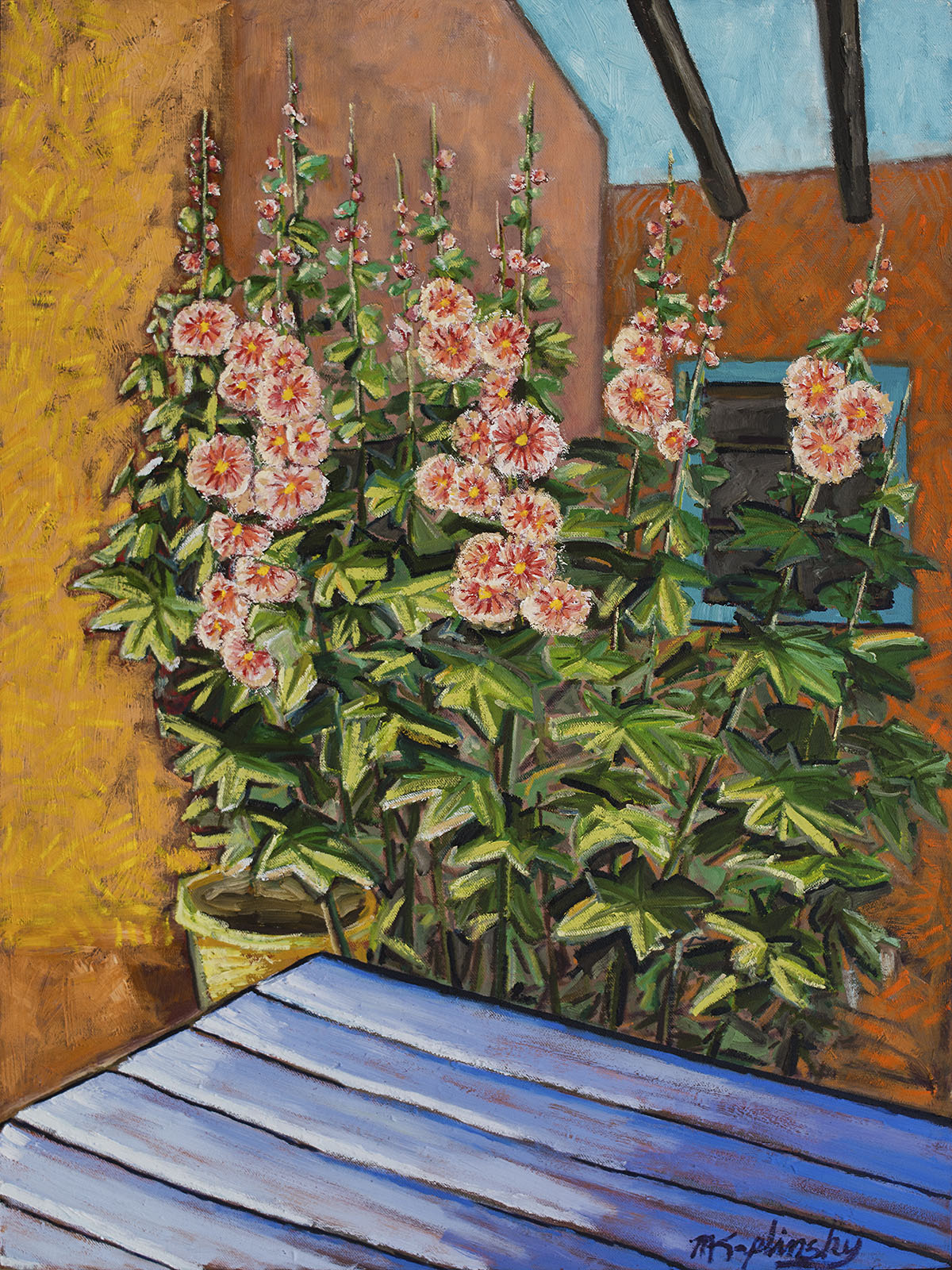 portfolio/Cafe Hollyhocks in New Mexico - 36x48 oil on masonite by Matt Kaplinsky.jpg