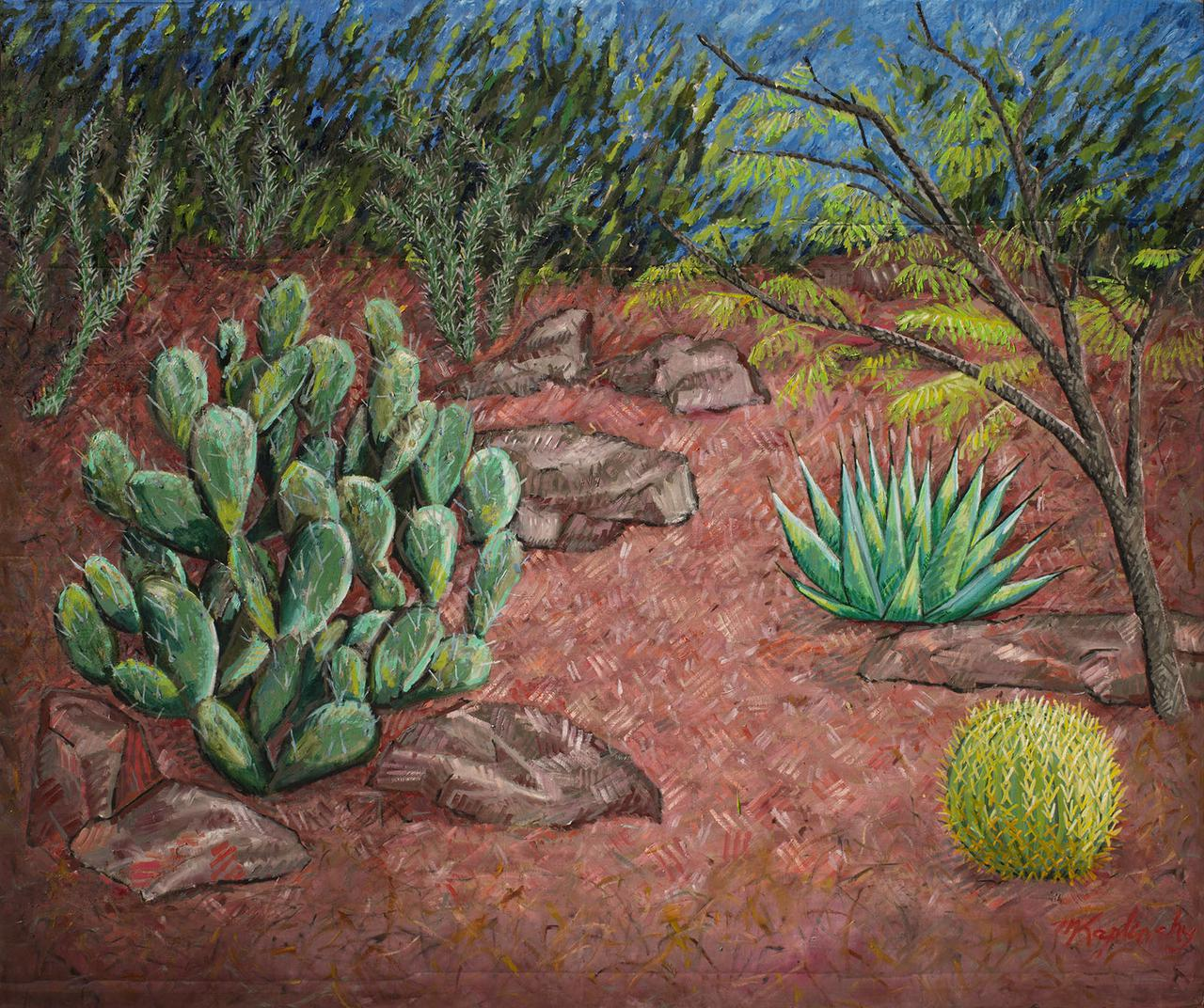 portfolio/Dusk in the New Mexico Courtyard - 60x72 oil on cardboard by Matt Kaplinsky.jpg