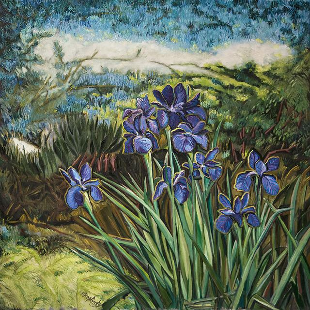 Irises Under the Atlas Cedar oil on canvas art piece by Matt Kaplinsky 62x72