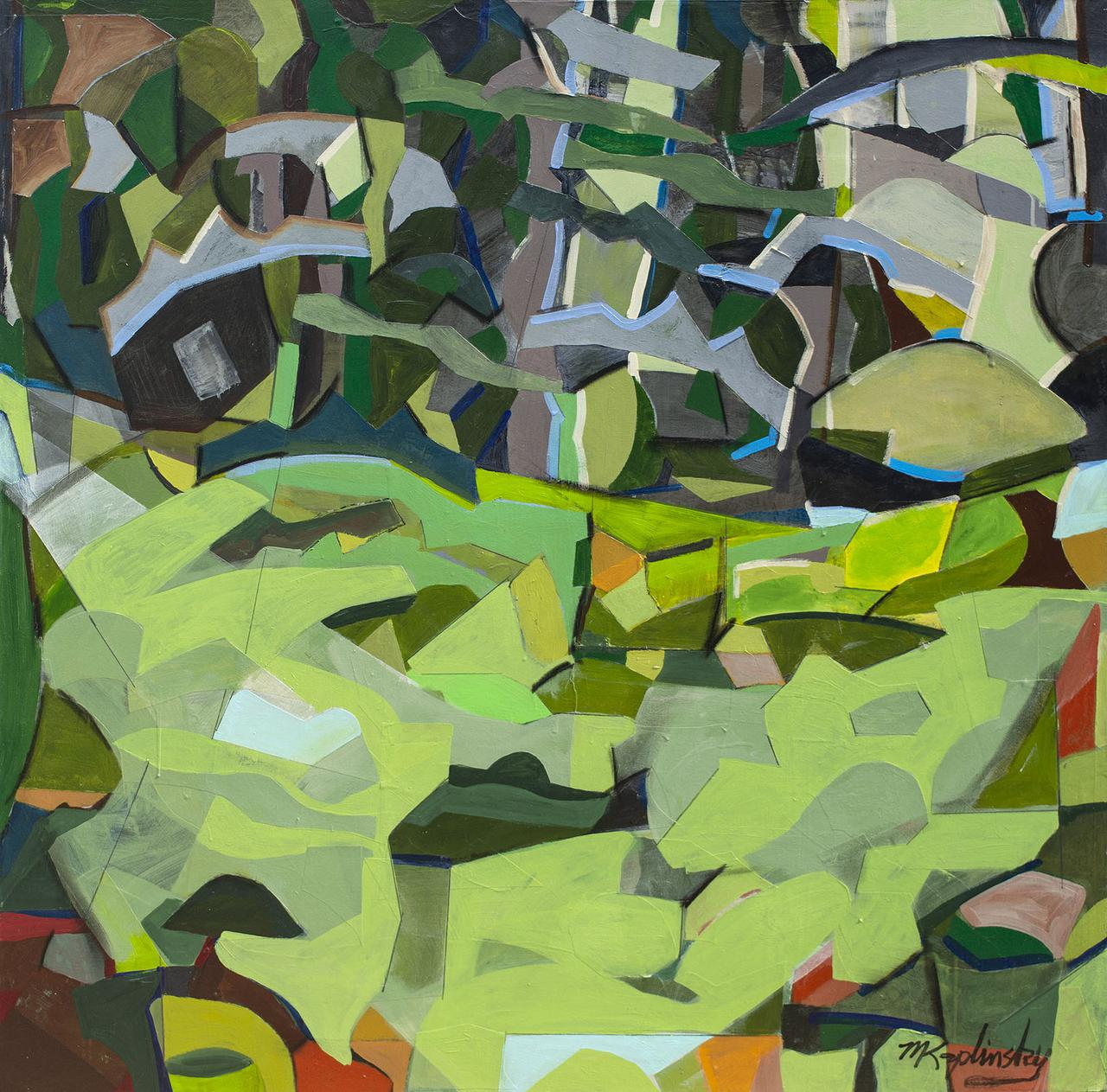 wooded lawn _48x48  _acrylic and paper on canvas _by matt kaplinsky _web.jpg