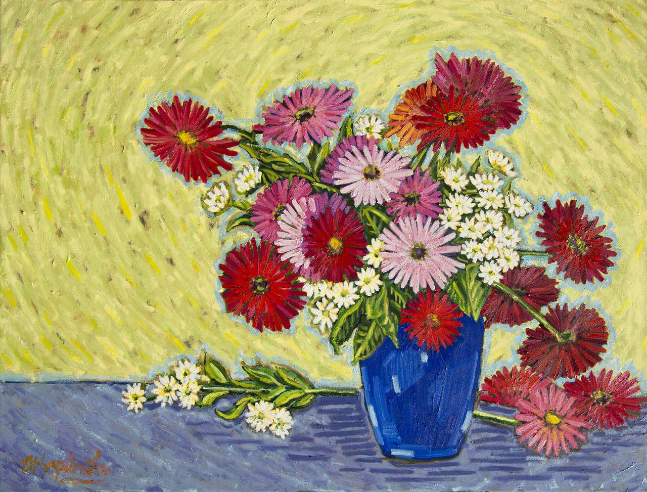 Vase Full of Gerbers oil on canvas by Matt Kaplinsky 30x40