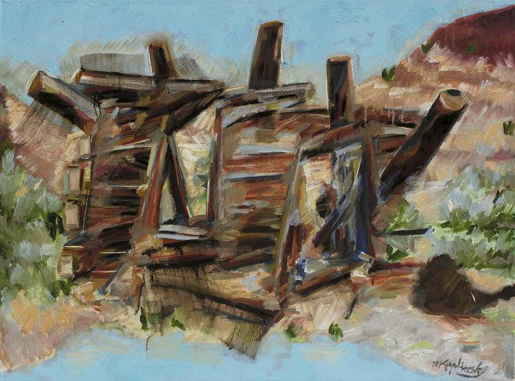 Matt Kaplinsky   Abandoned Western Cabin   oil