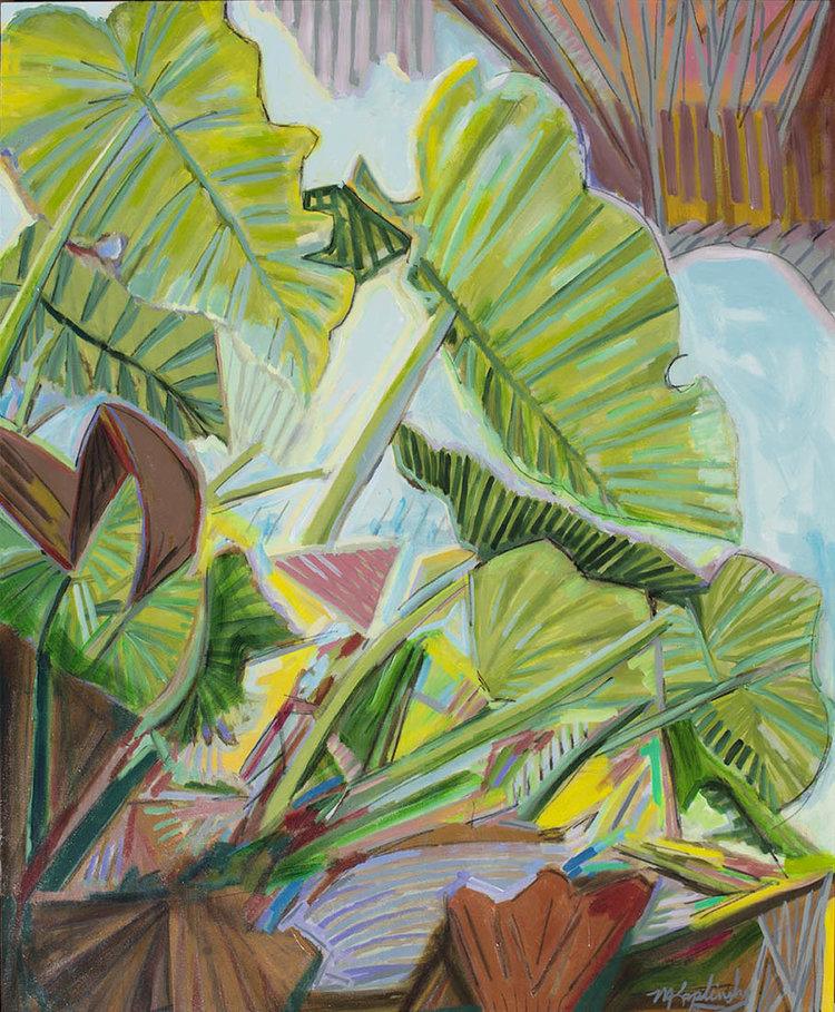 Elephants Outside the Window, Acrylic on canvas, 48x60 inches by Matt Kaplinsky