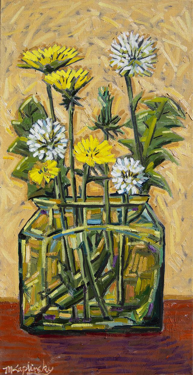 Dandelions in Odd Jar oil on canvas art piece by Matt Kaplinsky 12x24