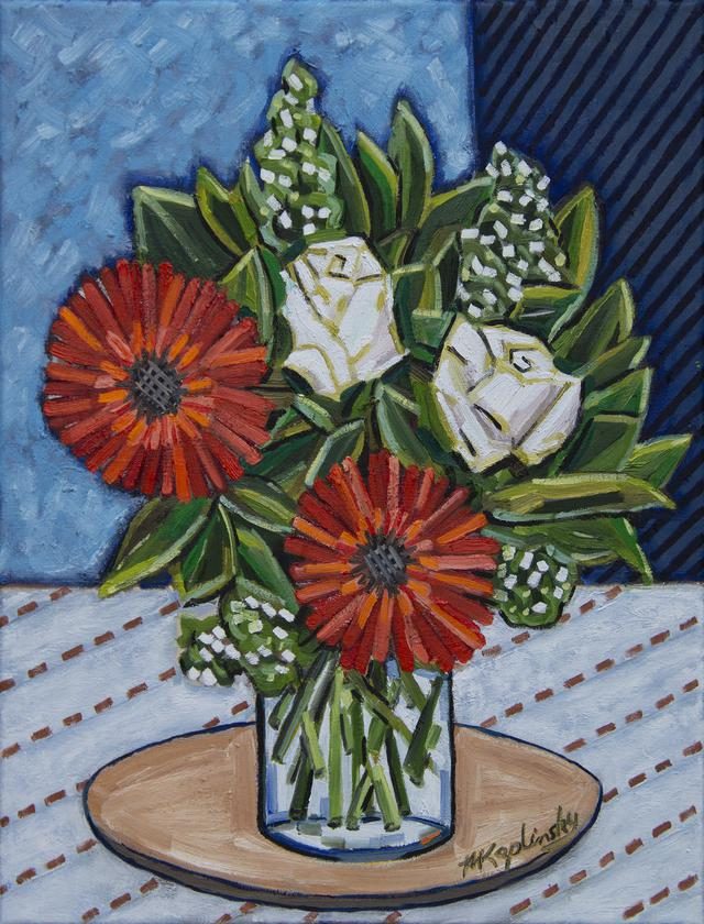 Red Gerbers, White Roses oil on canvas fine art piece by Matt Kaplinsky 20x16
