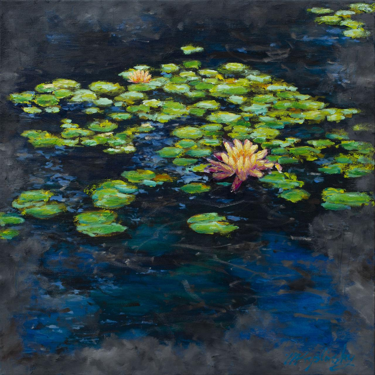 Entry Pond at the Gardens 24x24 inches oil on canvas by Matt Kaplinsky