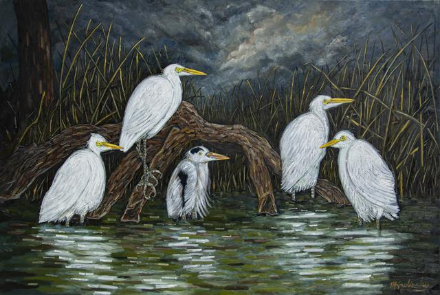 Waders, After the Storm oil on canvas art piece by Matt Kaplinsky 40x60