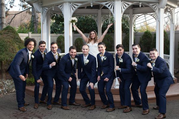 bride with groomsman