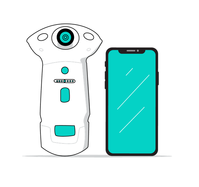 drawing of the peek camera and an iphone x