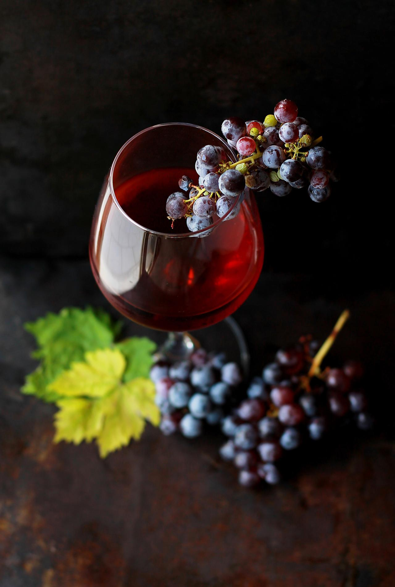 Wine and grapes from above