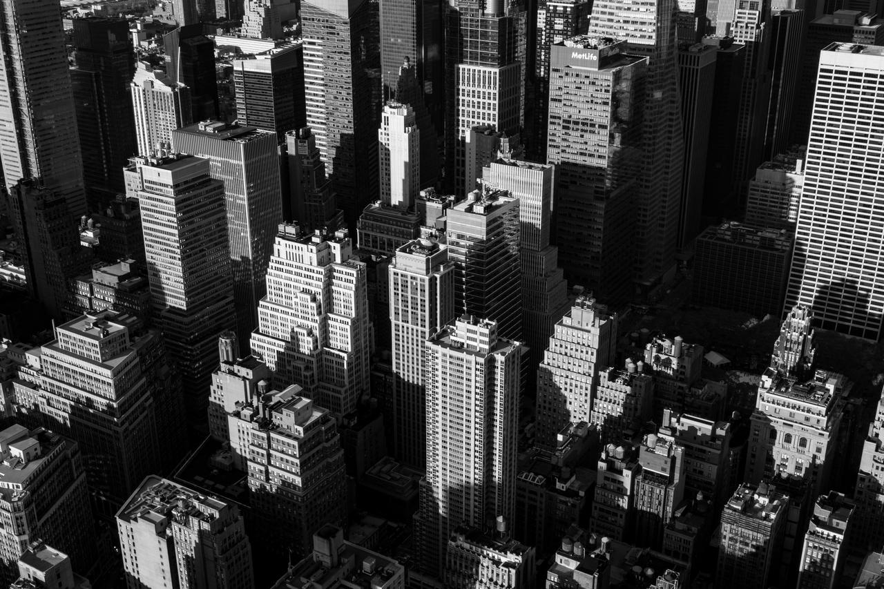 city black and white buildings cityscape
