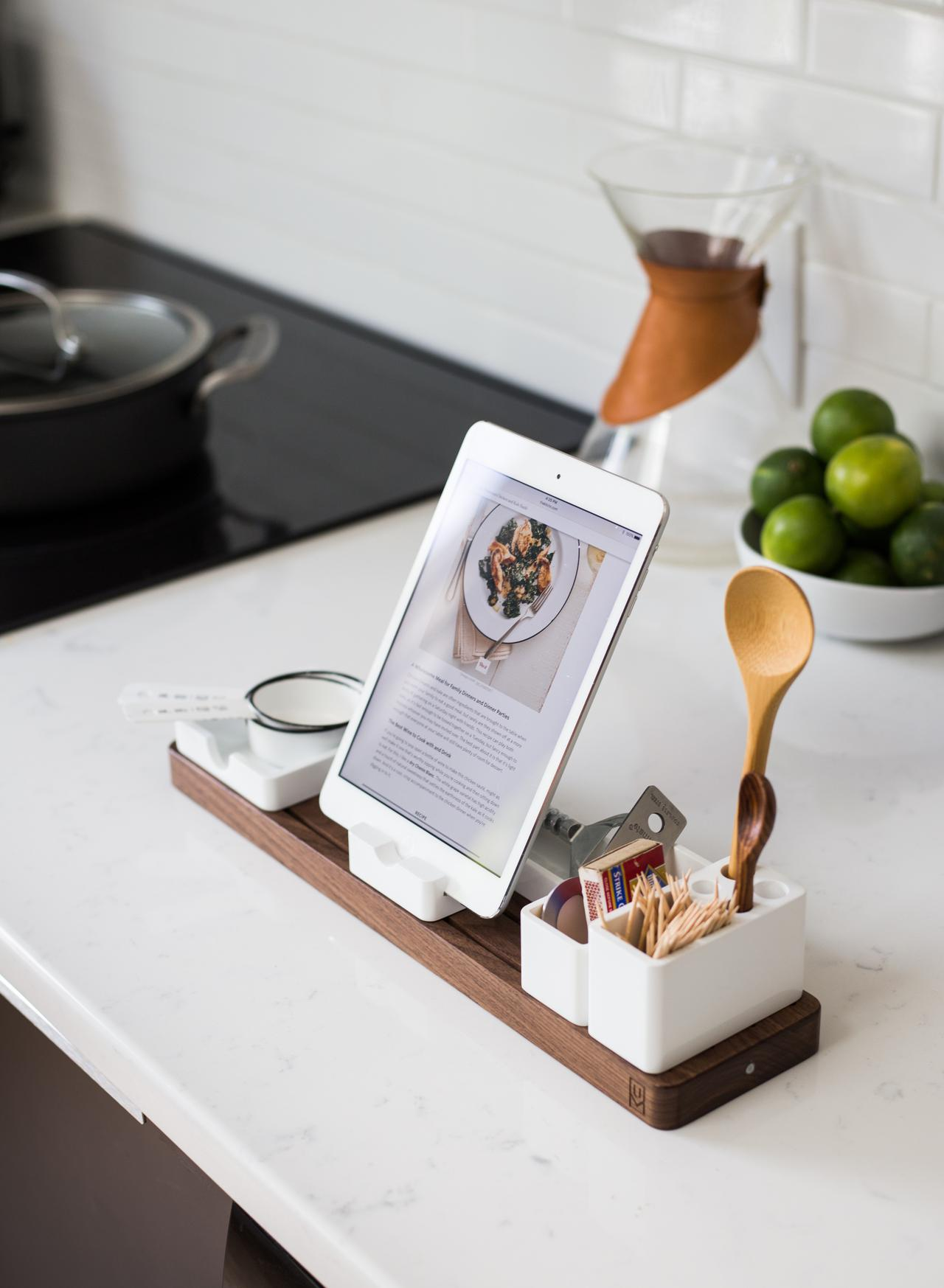 recipe tray on counter that includes a tablet