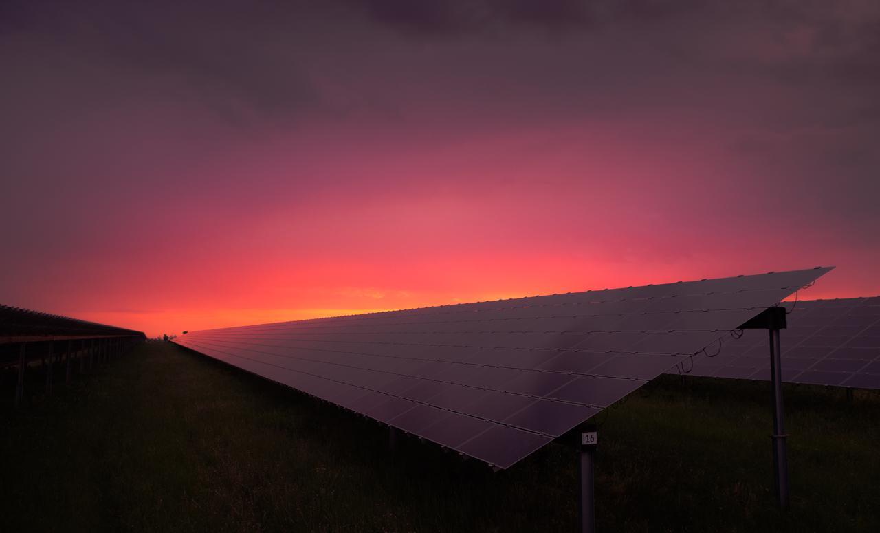 solar panels solar electricity renewable energy evening
