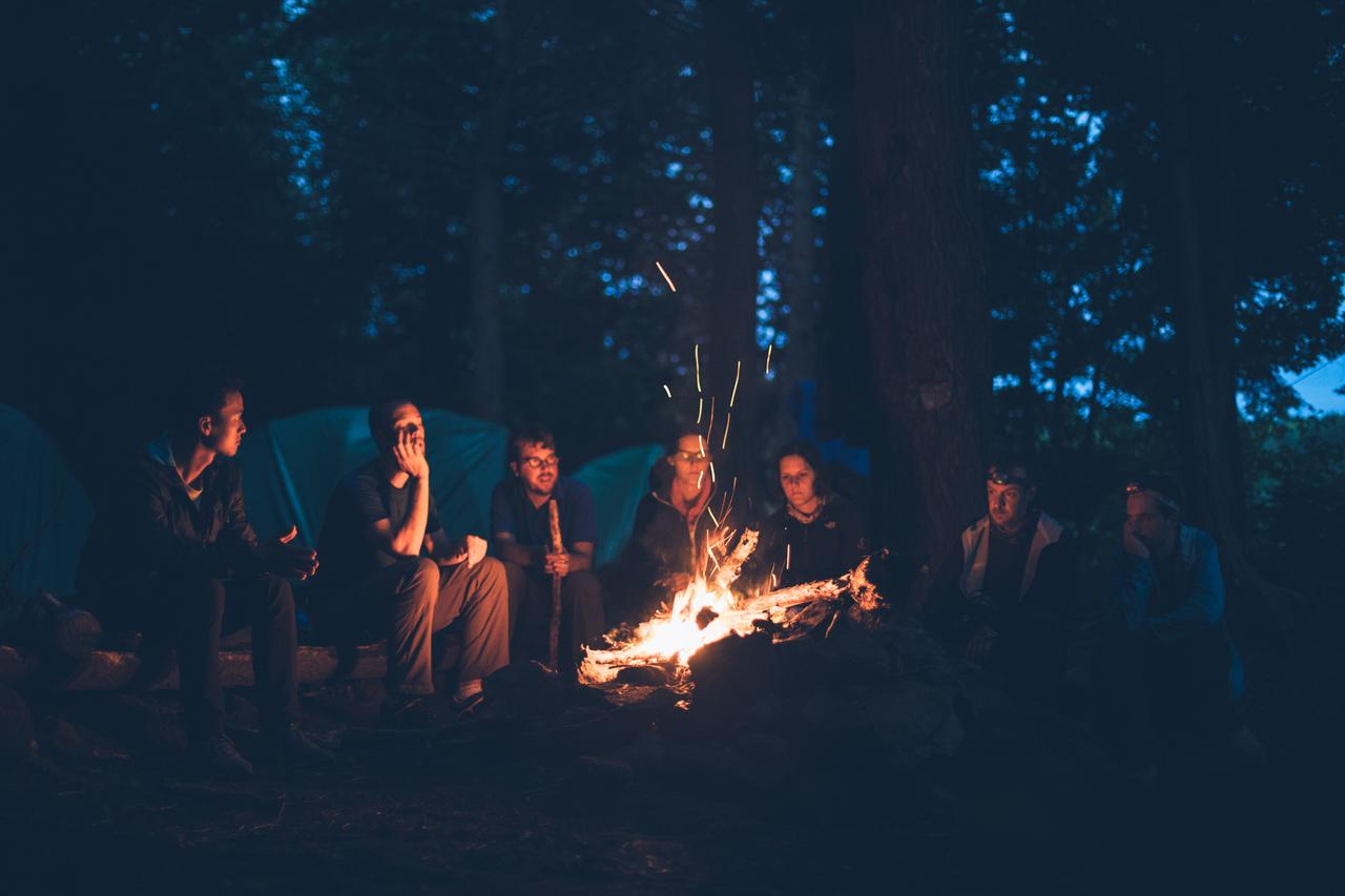 group of people sitting near bonfire